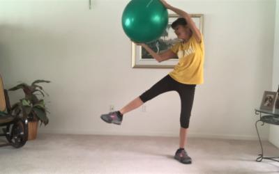 Senior Standing Stability Ball Exercise